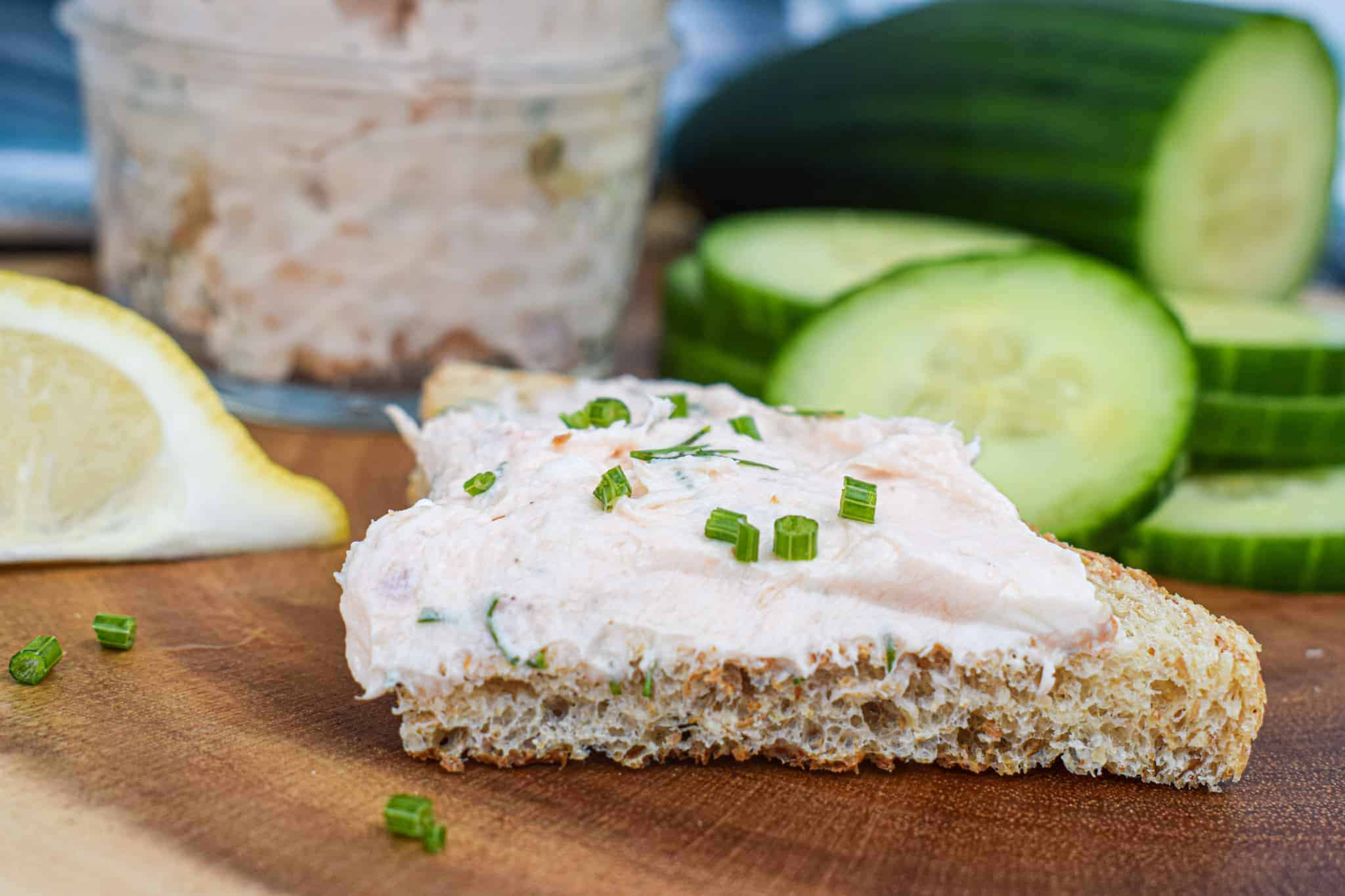 smoked salmon spread dip pate on toast with cucumbers by the jam jar kitchen