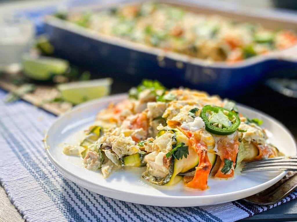 low carb green chile chicken enchiladas with zucchini and rotisserie chicken