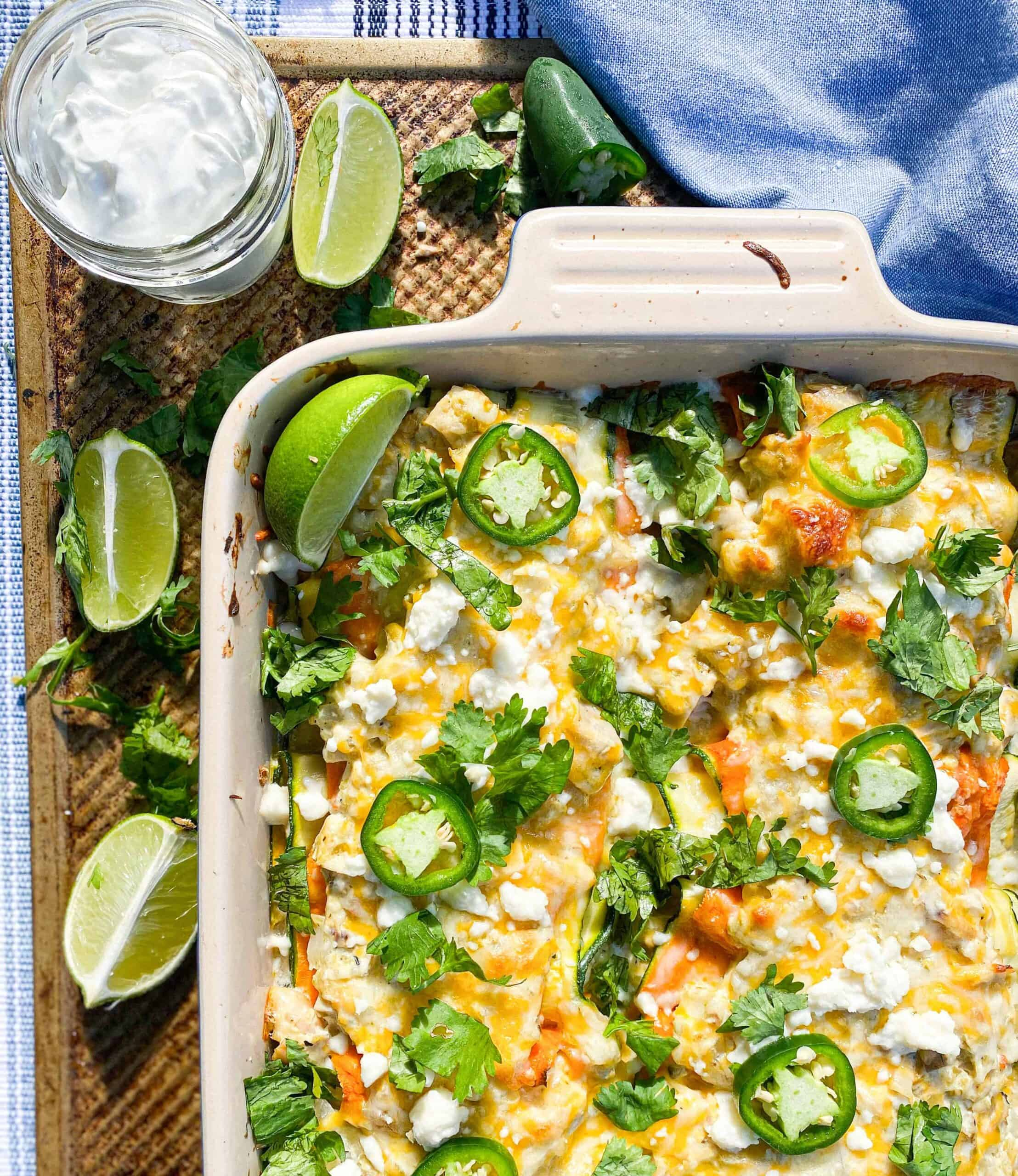 low carb green chile chicken sour cream enchiladas