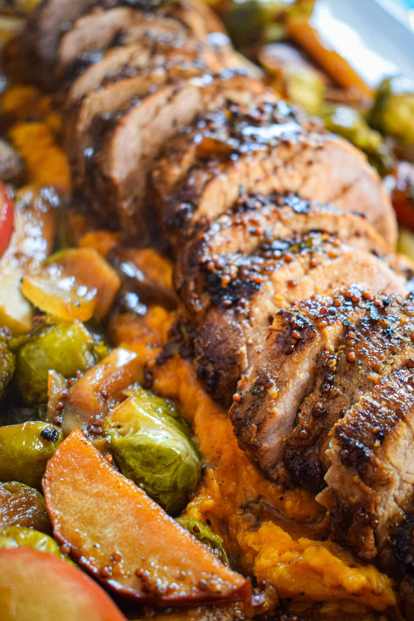 autumn recipe maple pork tenderloin with brussel sprouts and apples