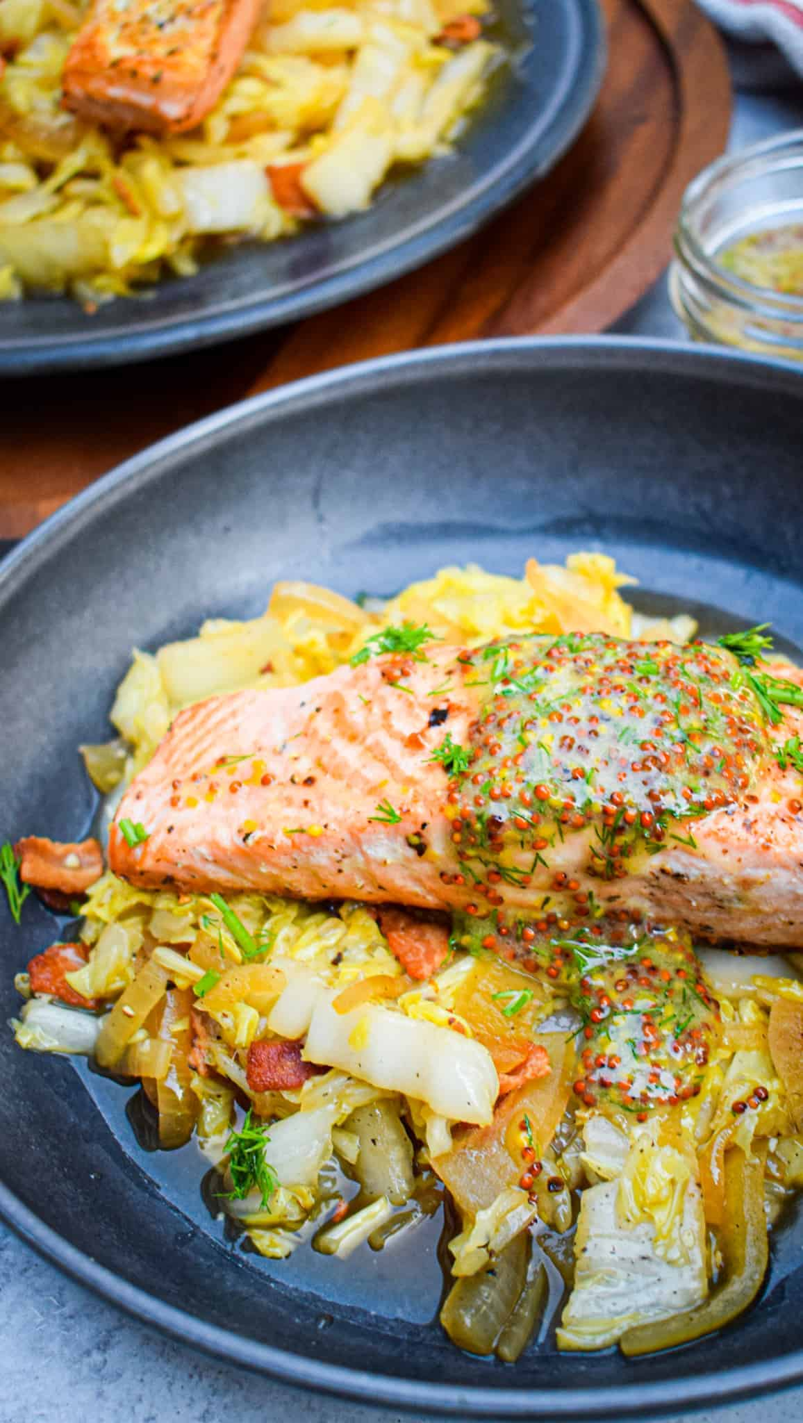 seared salmon with wholegrain mustard sauce
