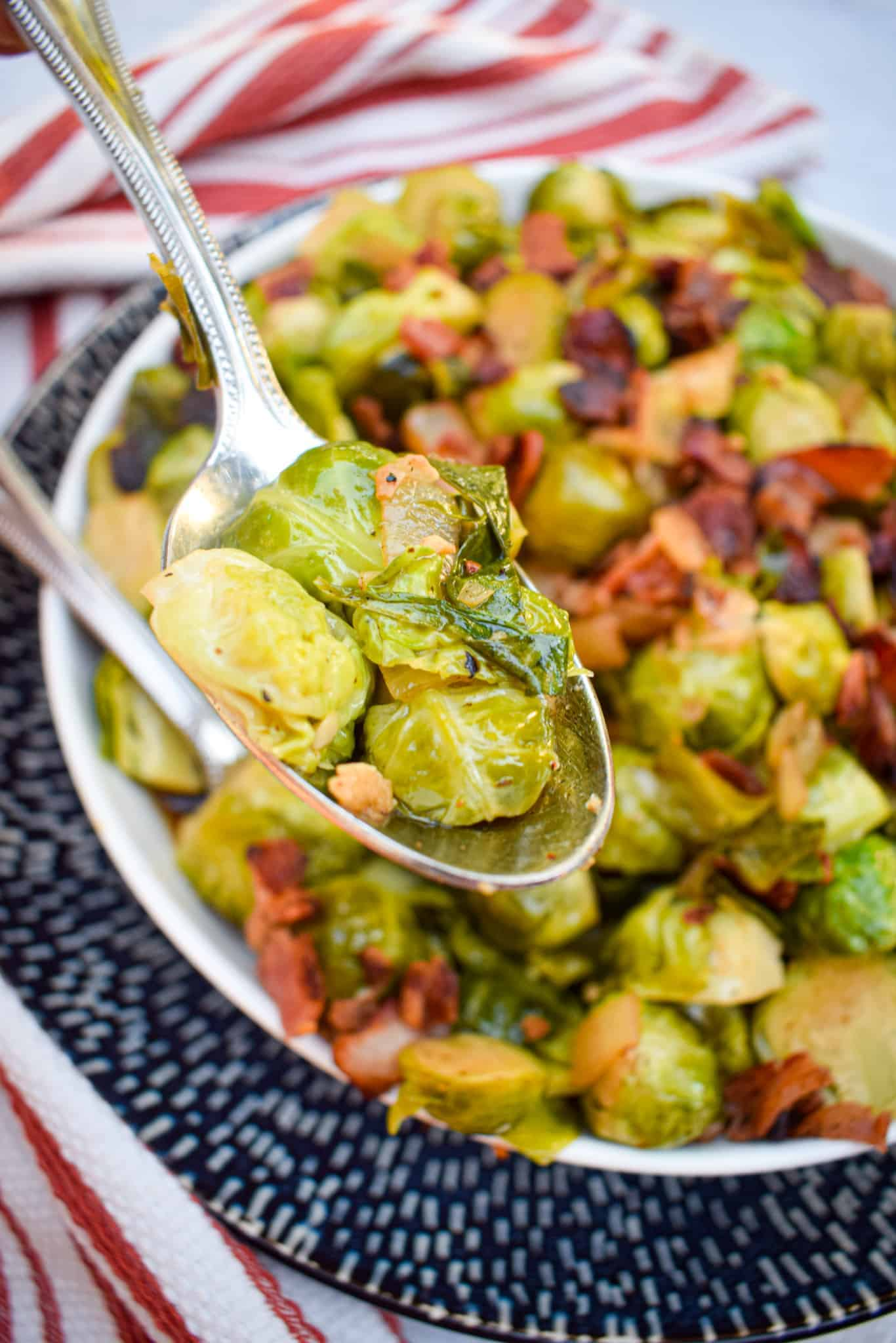 bacon and balsamic brussel sprouts