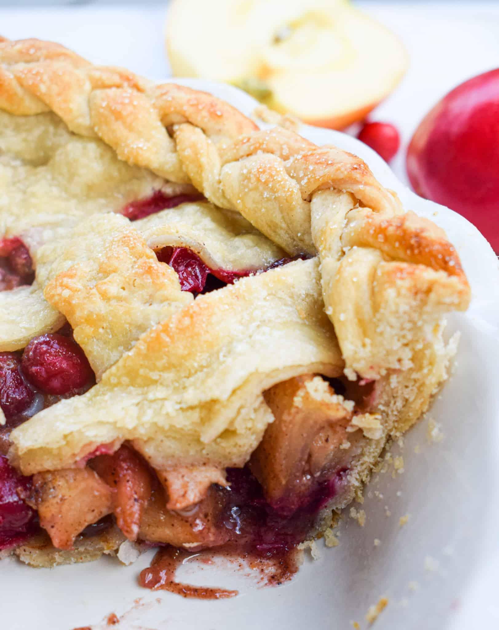 spiced apple cranberry pie braided pie crust