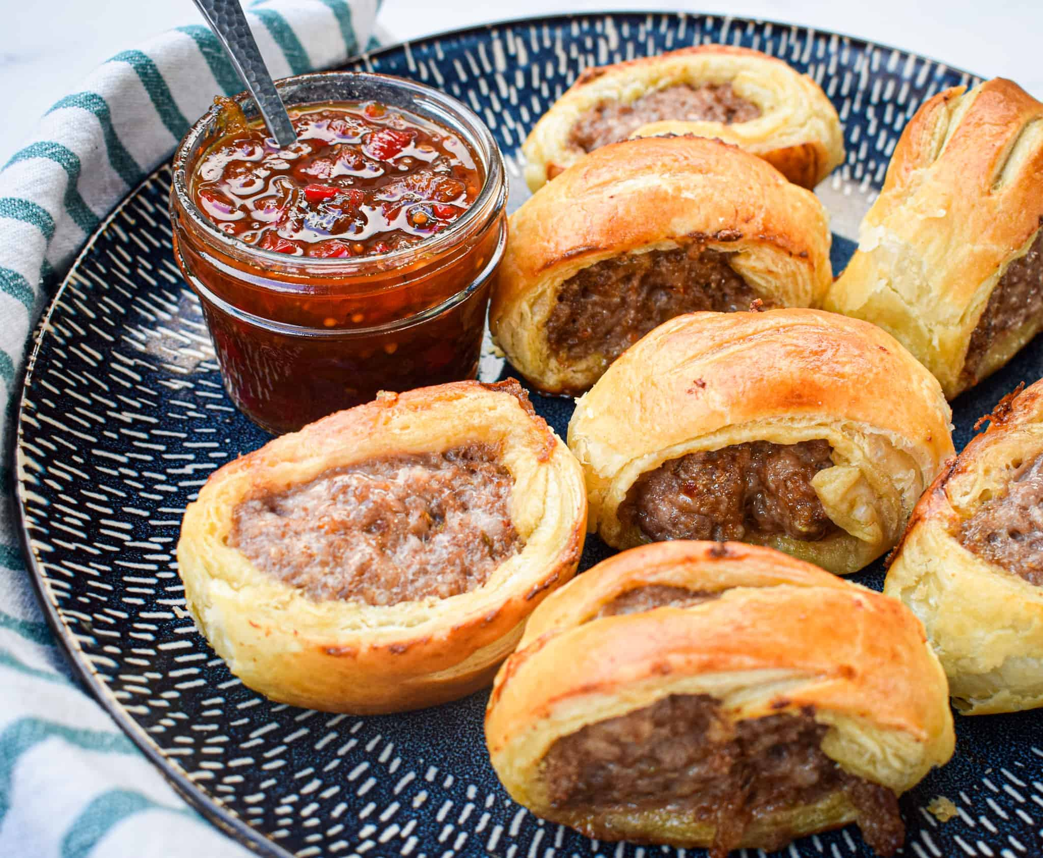 puff pastry sausage rolls with tomato chutney