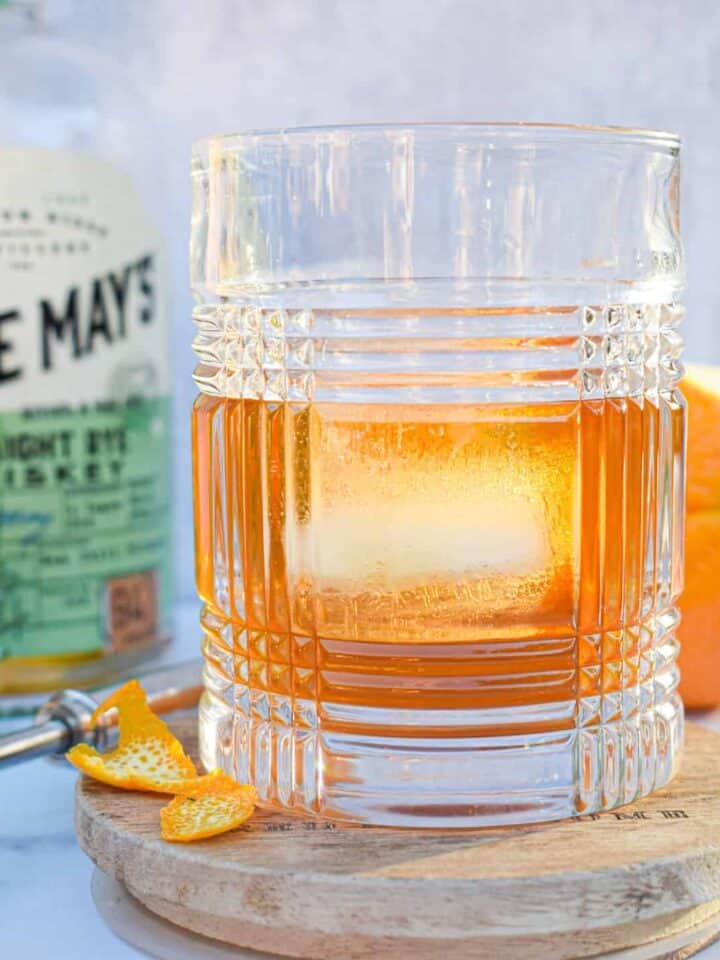 Breakfast Maple Old Fashioned Cocktail Recipe with whiskey or bourbon