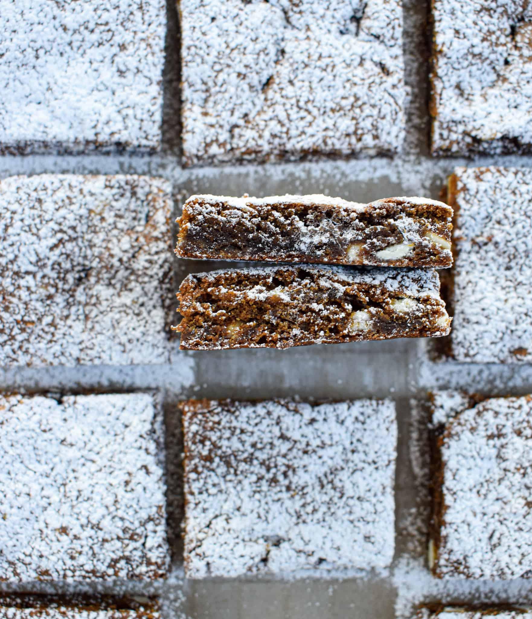 white chocolate bourbon gingerbread bar christmas baking