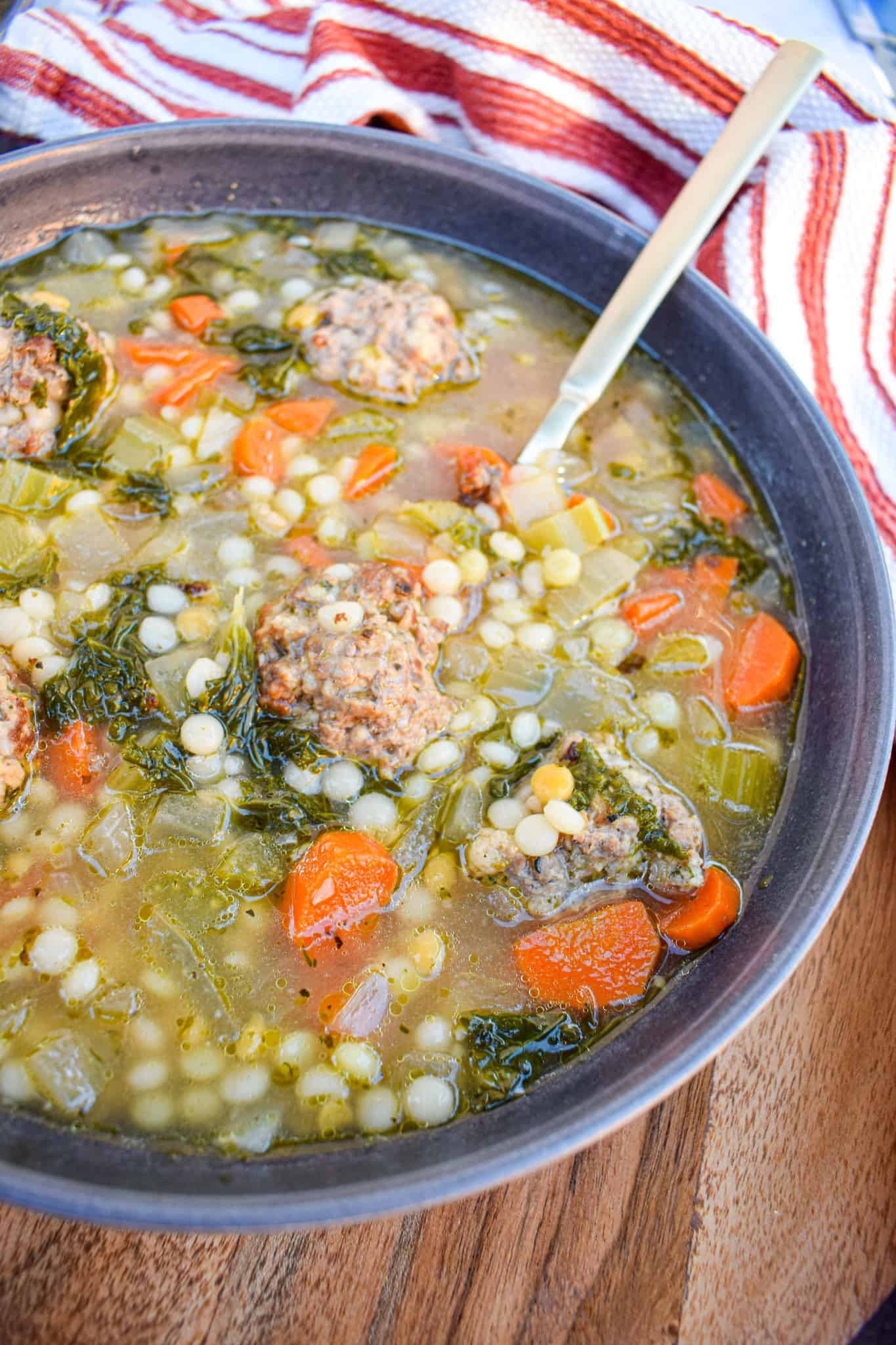 Italian wedding soup with couscous by the jam jar kitchen