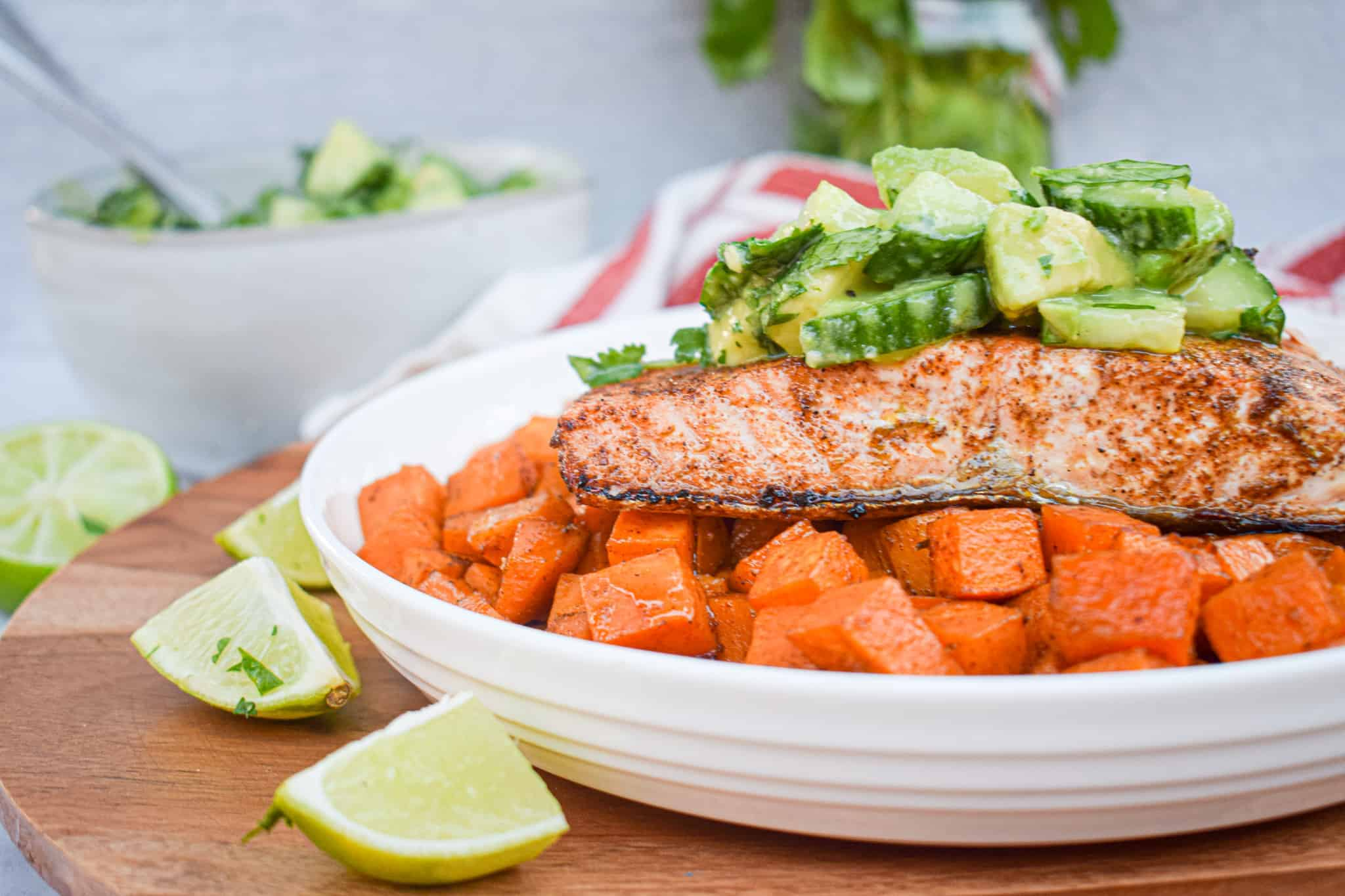 whole30 chili lime salmon with mexican spiced sweet potatoes