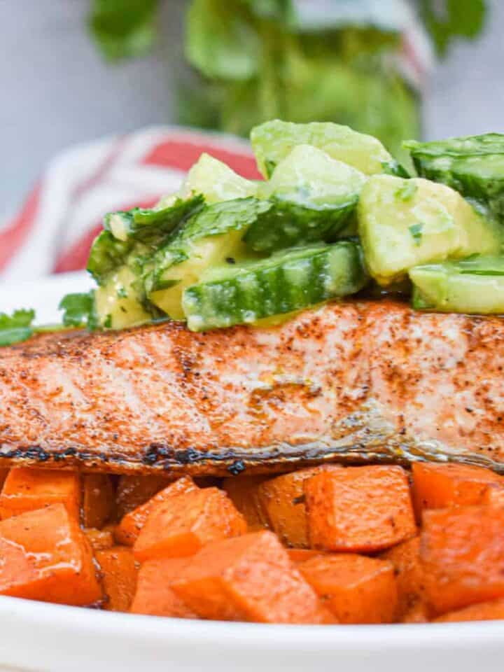 whole30 paleo chili lime salmon with mexican spiced sweet potatoes