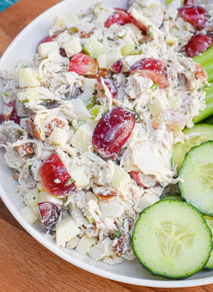 chicken salad with grapes tarragon green apples and pecans by the jam jar kitchen