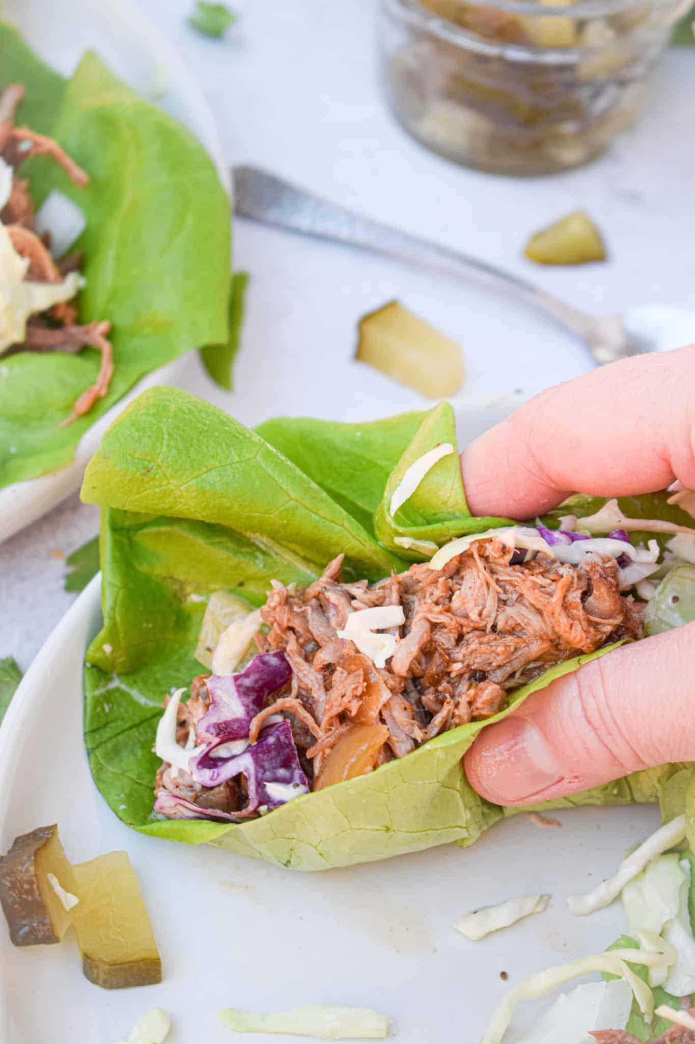 whole30 pulled pork & coleslaw lettuce wraps by the jam jar kitchen