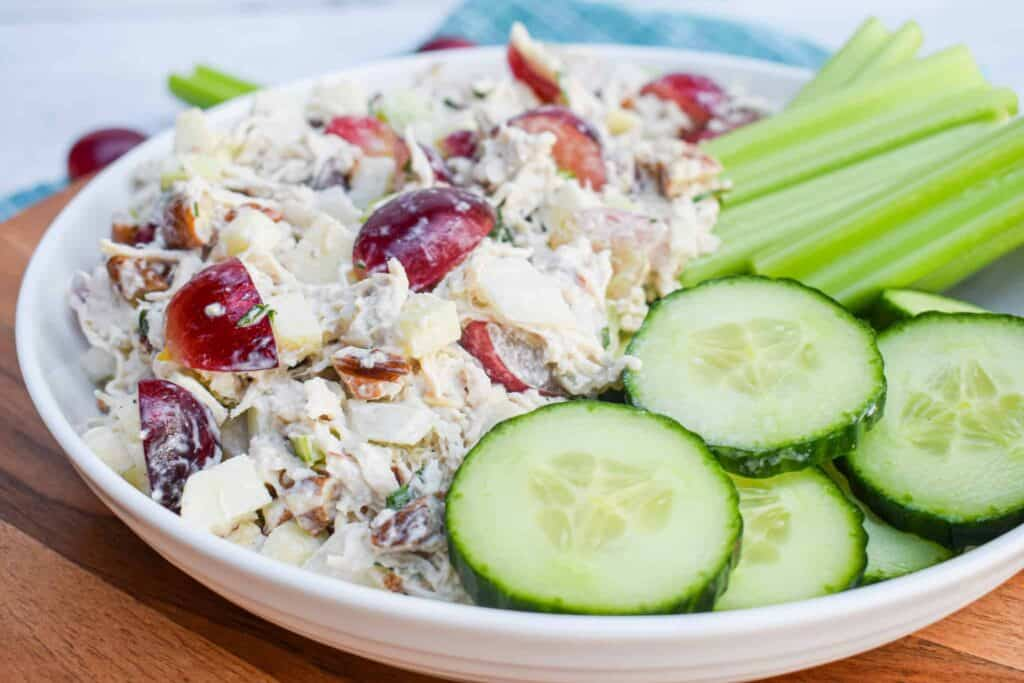 whole30 paleo chicken salad with tarragon grapes and green apples by the jam jar kitchen