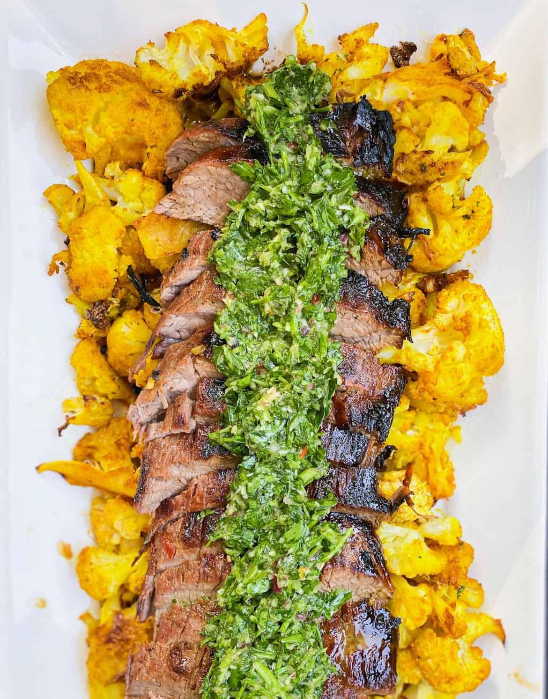 grilled flat iron steak with chimichurri