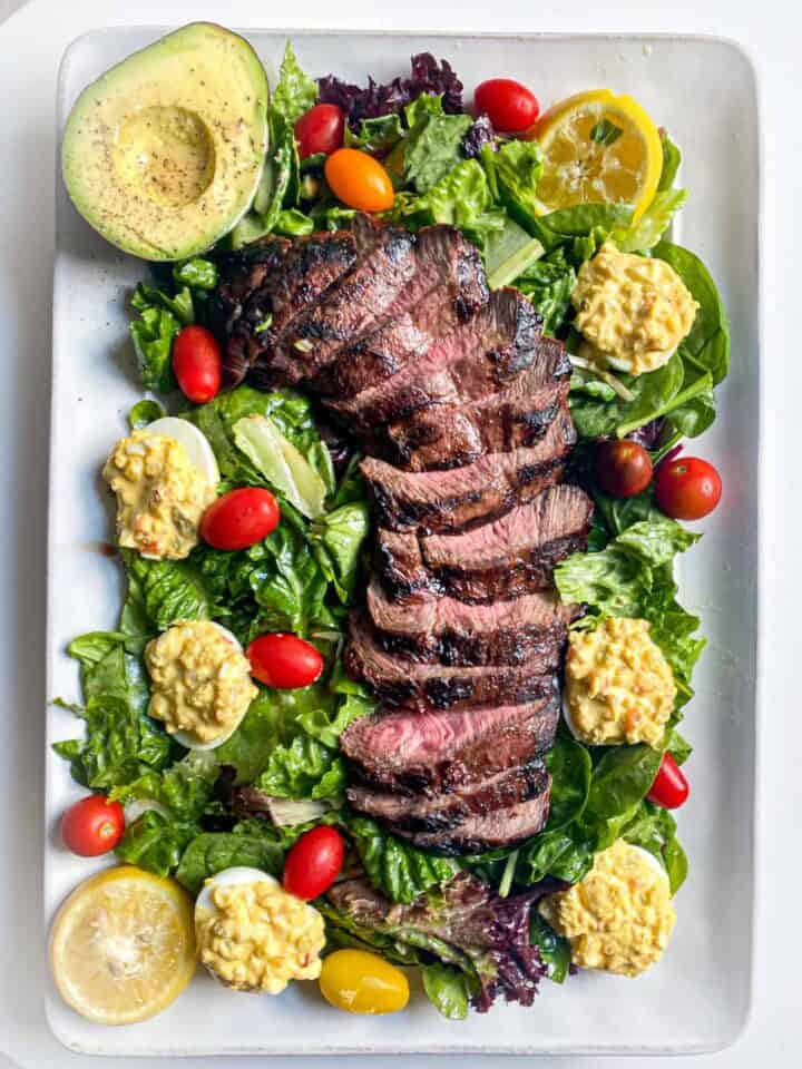 steak salad with deviled eggs and a lemon horseradish truffle dressing by the jam jar kitchen