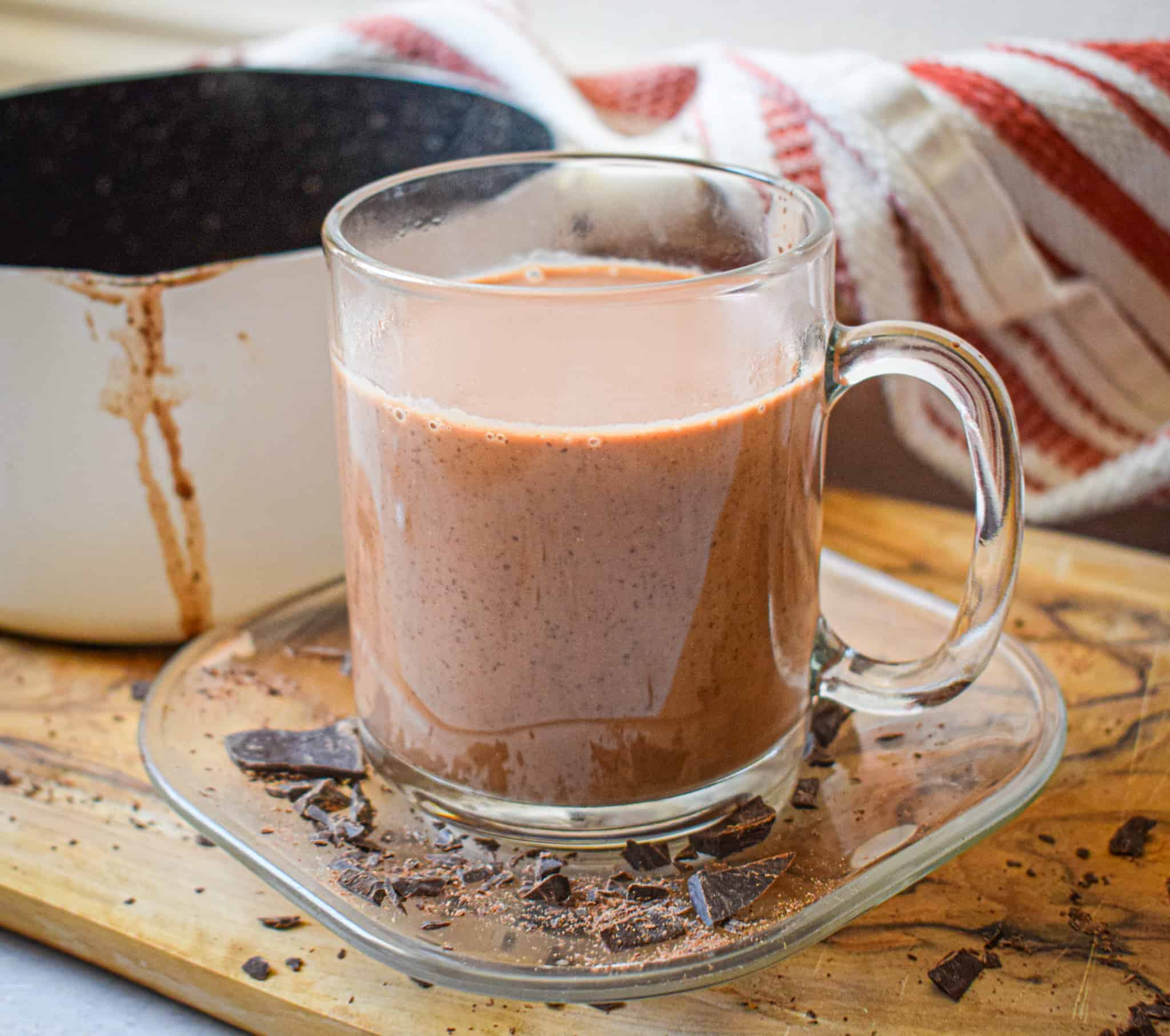 Paleo hot chocolate with coconut milk and maple syrup by the jam jar kitchen