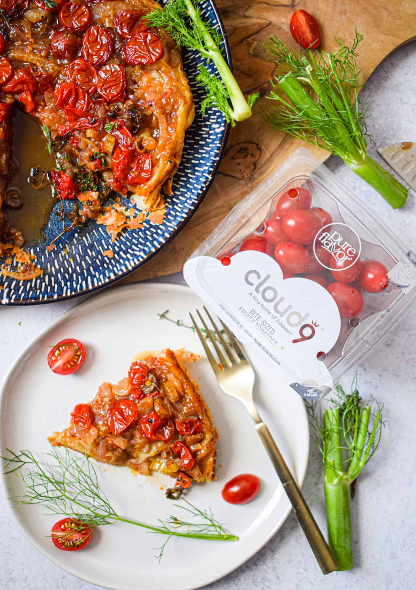 Sweet Tomato & Fennel Tarte Tatin with Pure Flavor Cloud 9 Fruity Tomatoes