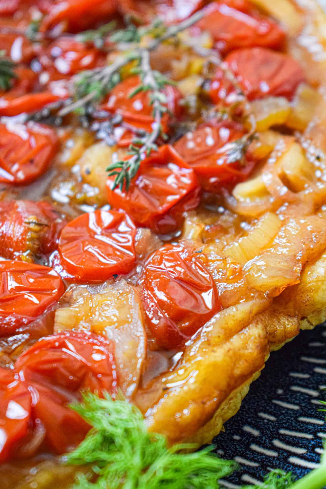 close up of sweet tomato & fennel Tarte Tatin