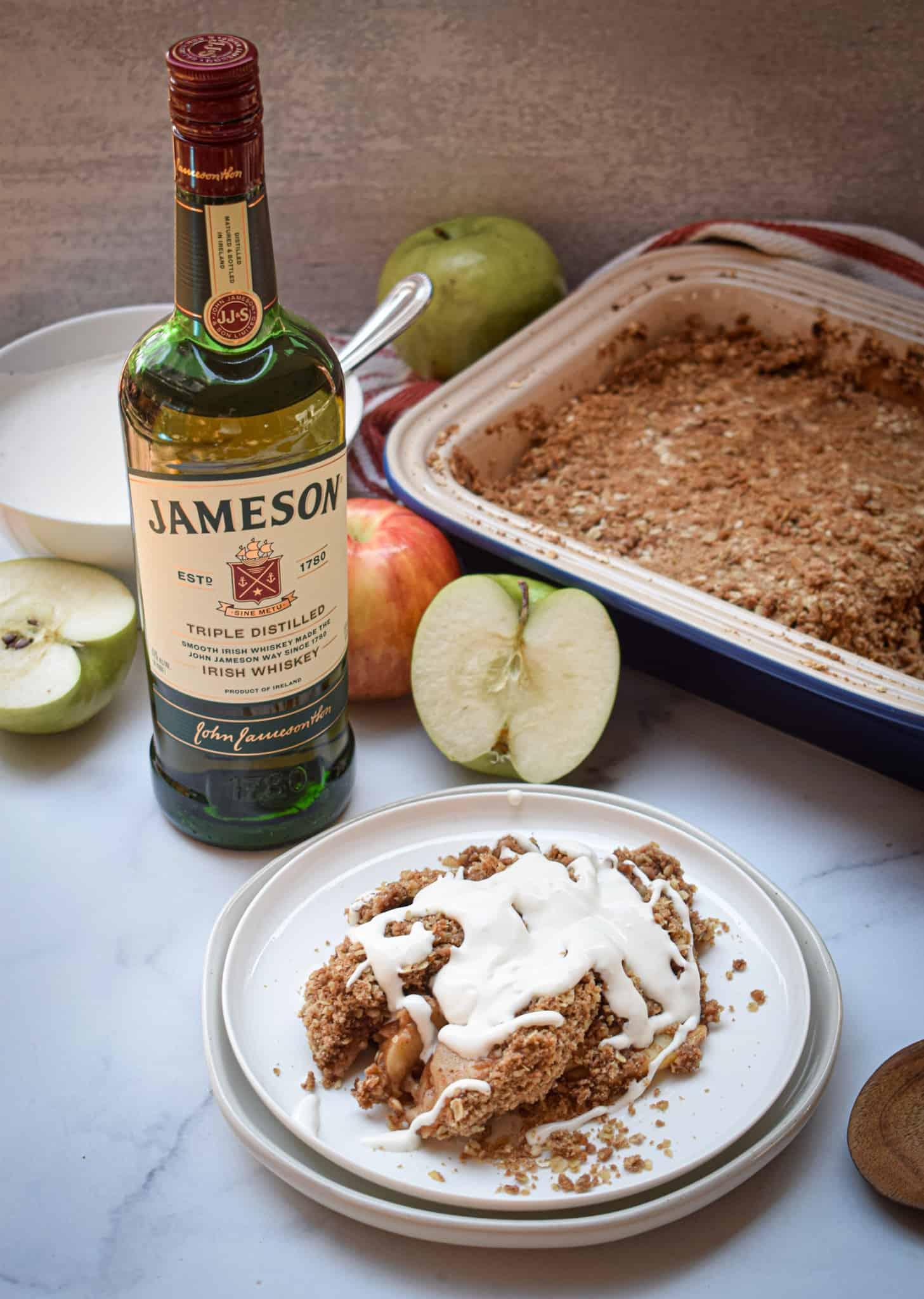 apple crumble with Jameson Whiskey cream