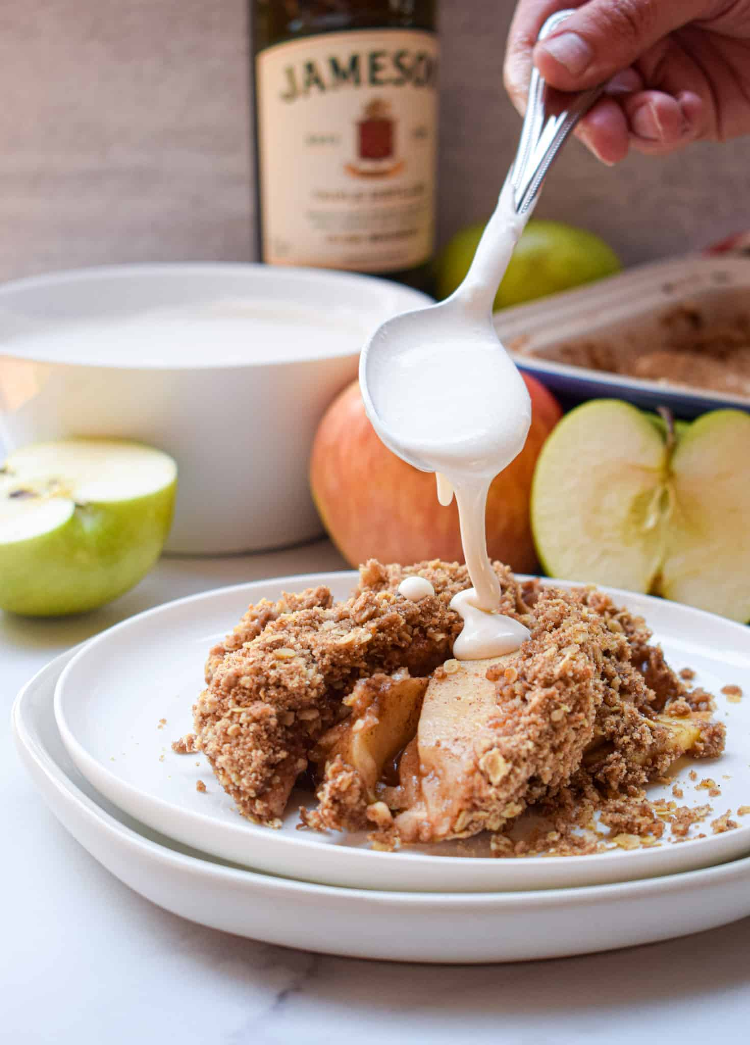 irish apple crumble with whiskey cream jameson