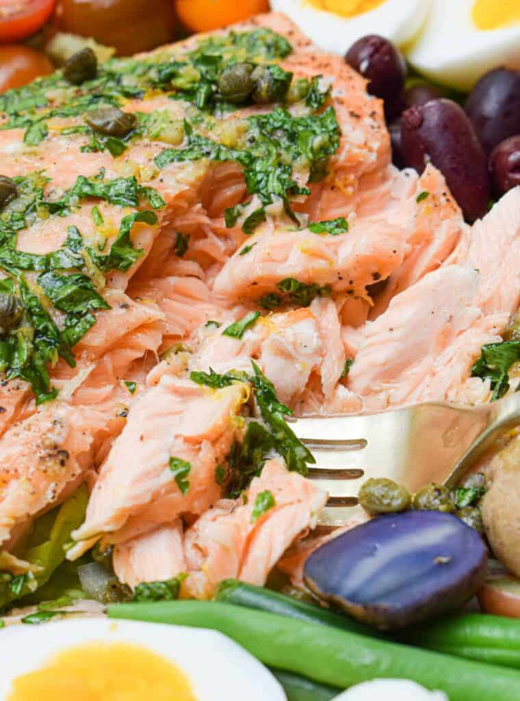 Bluehouse Salmon in a Whole30 Salmon Nicoise Salad by The Jam Jar Kitchen