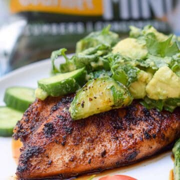 whole30 paleo chipotle lime chicken with cucumber avocado salad