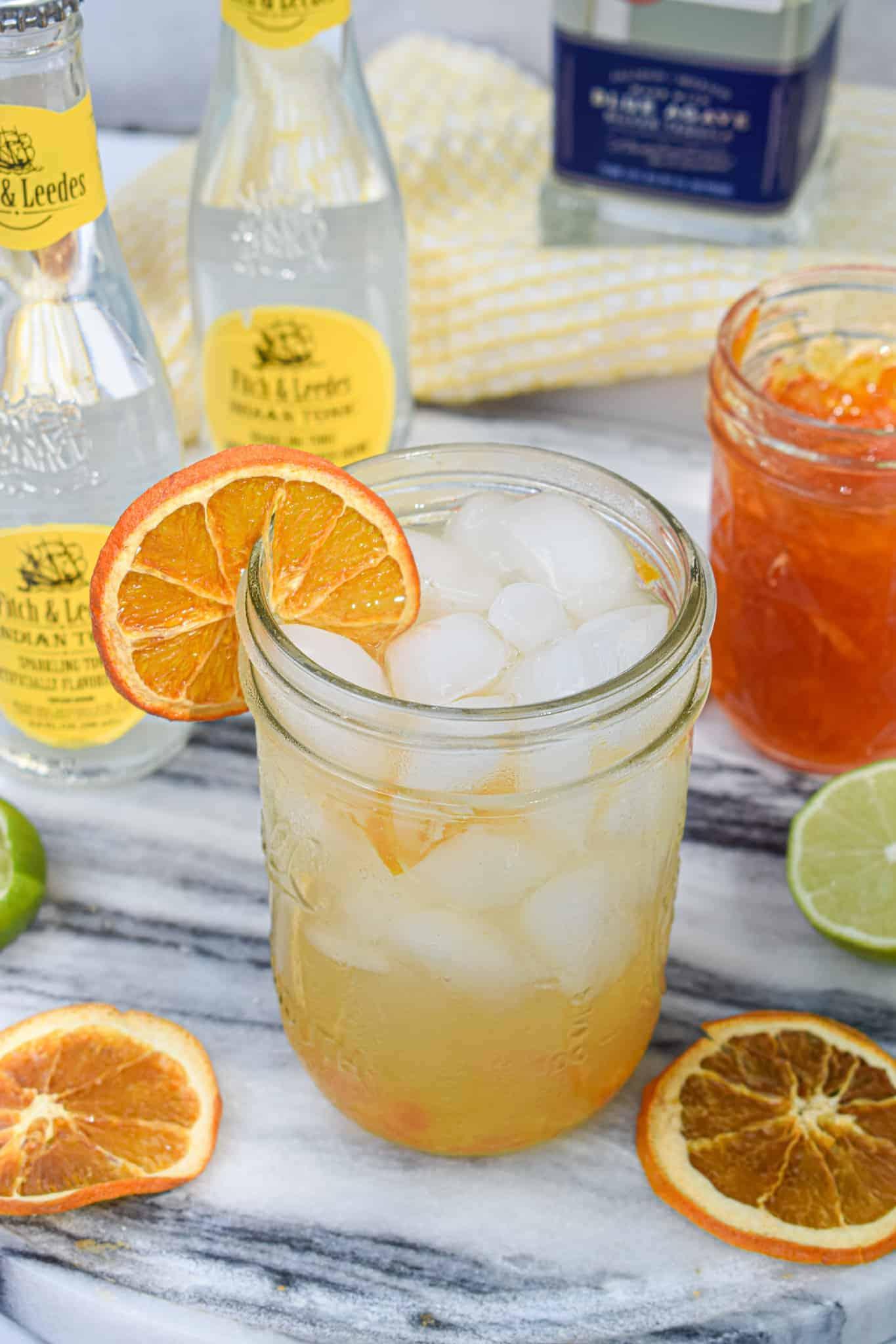Marmalade tequila sunrise smash cocktail