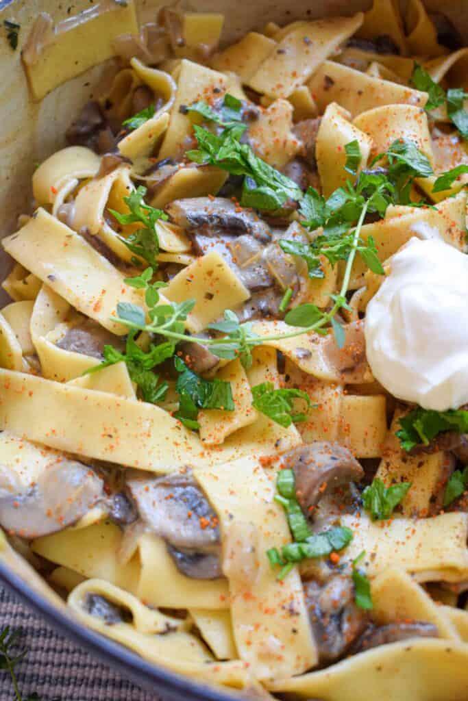 vegetarian mushroom stroganoff by The Jam Jar Kitchen