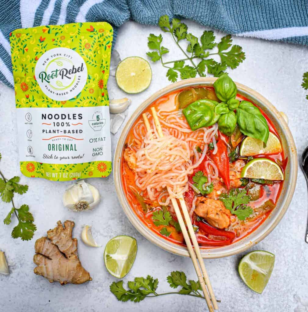 Low Carb Chicken Panang Curry Noodle Soup with Root Rebels Plant Based Noodles