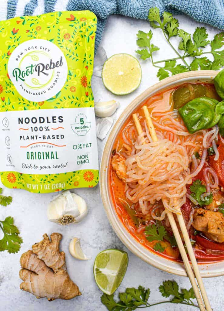 low carb chicken panang curry noodle soup by the jam jar kitchen