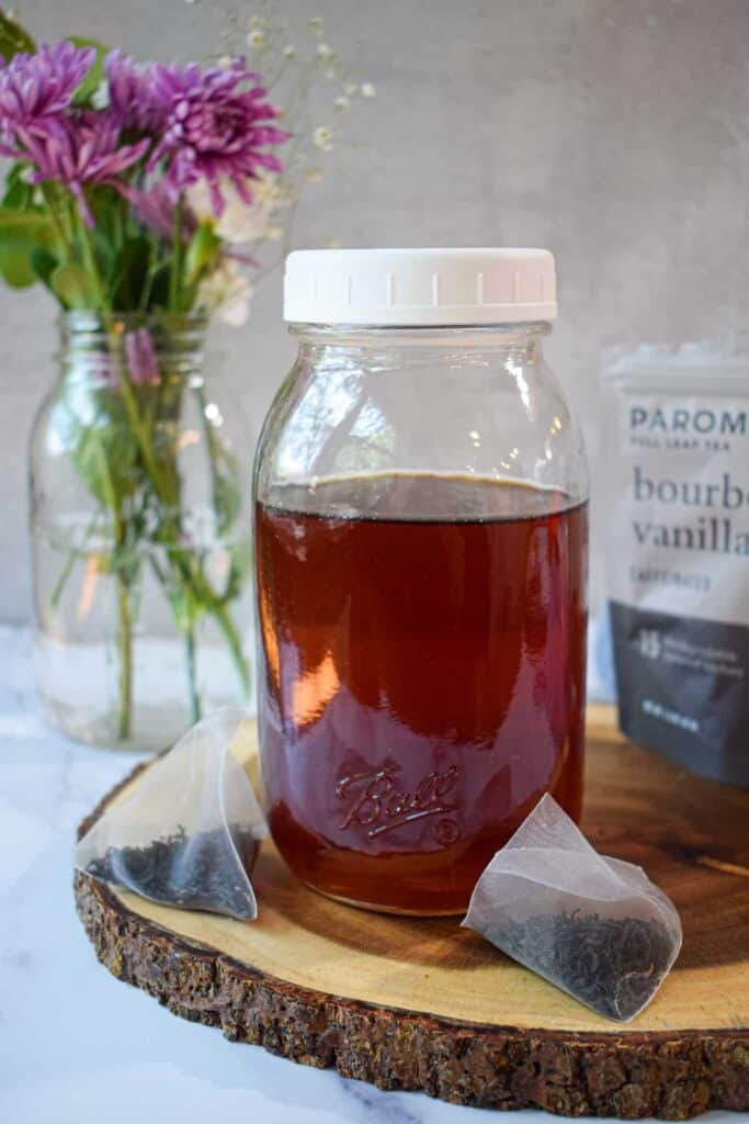tea infused simple syrup with paromi black tea by the jam jar kitchen