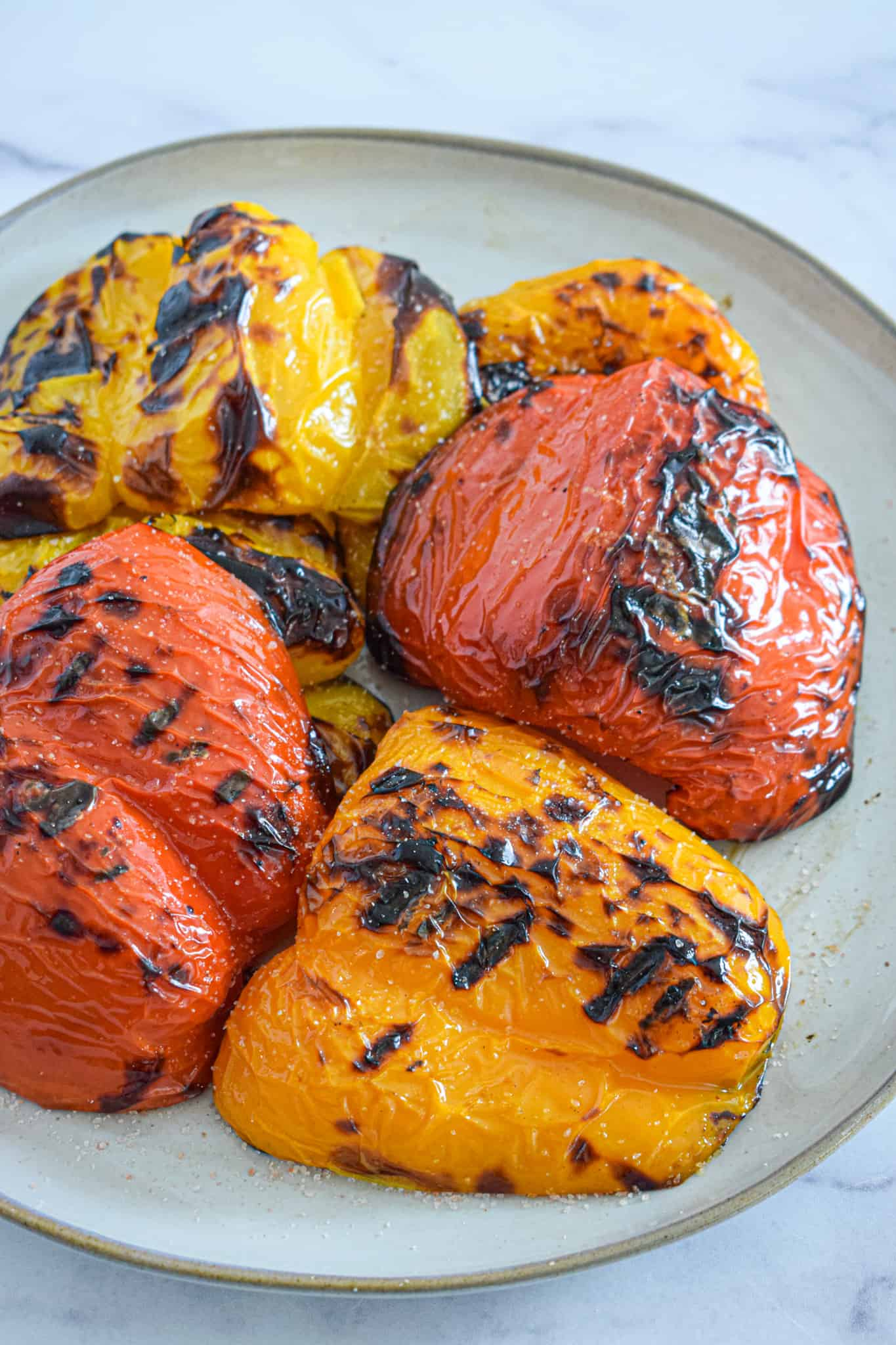grilled bell peppers with sea salt and pepper