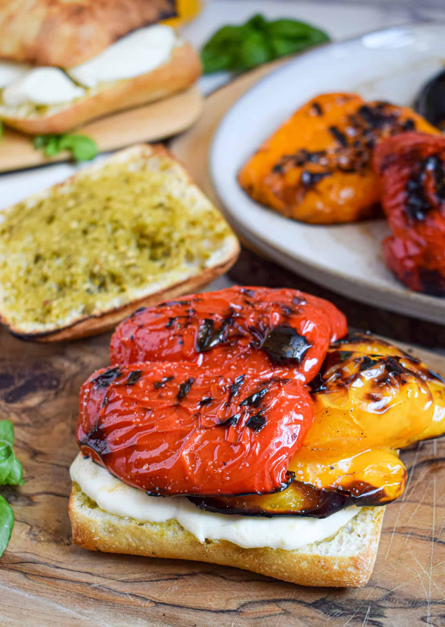 grilled bell pepper sandwiches