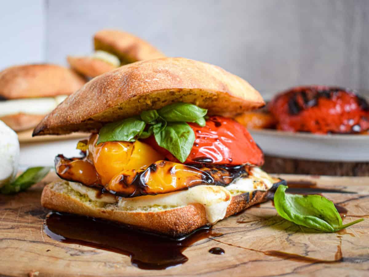 grilled bell pepper mozzarella pesto sandwich on ciabatta bun vegetarian summer recipe