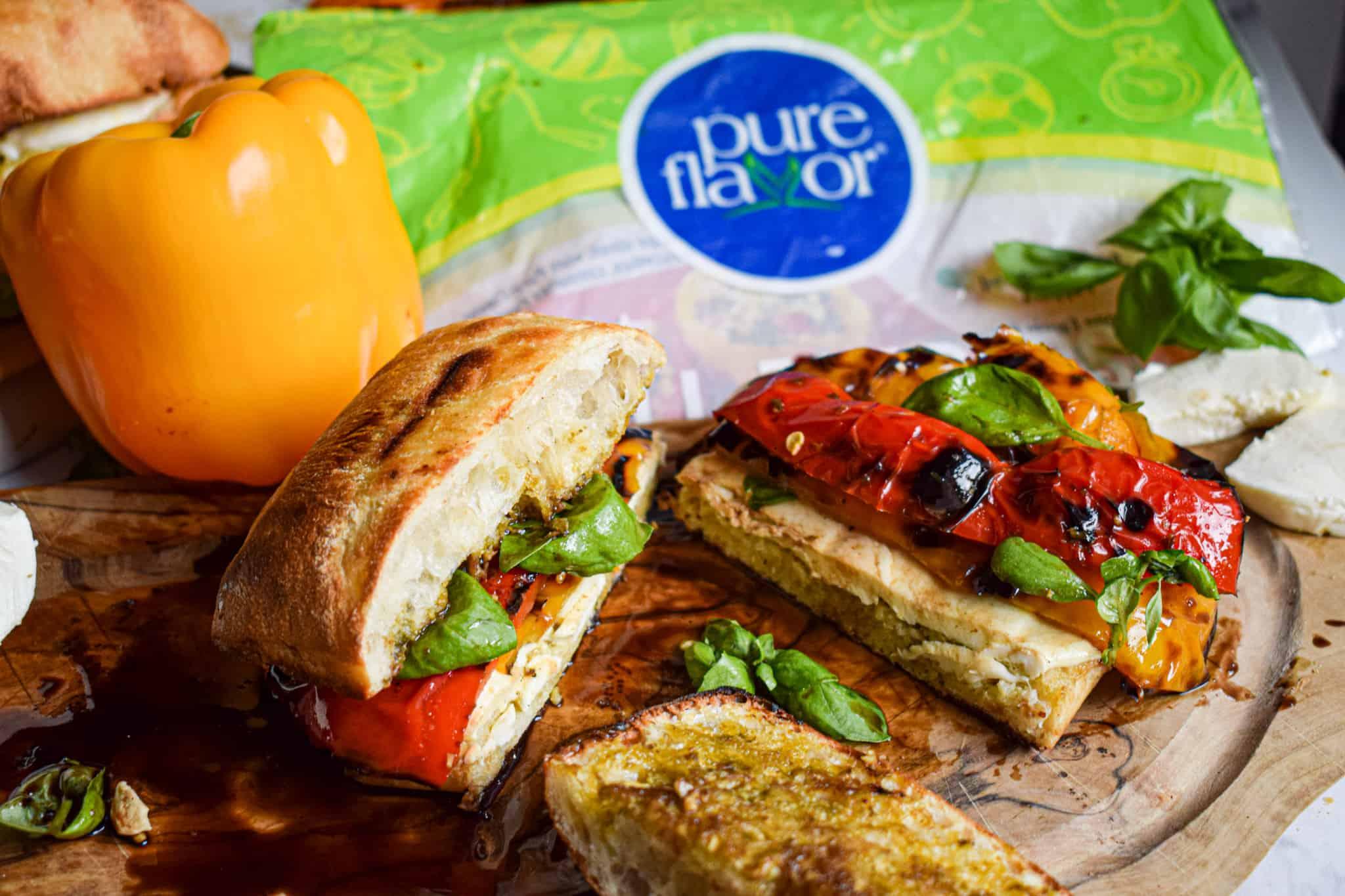 grilled pepper mozzarella pest sandwiches pure flavor fresh basil vegetarian summer recipe