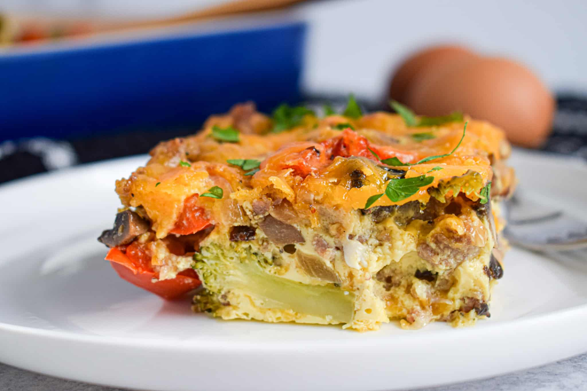 low carb breakfast casserole with sausage and roasted vegetables