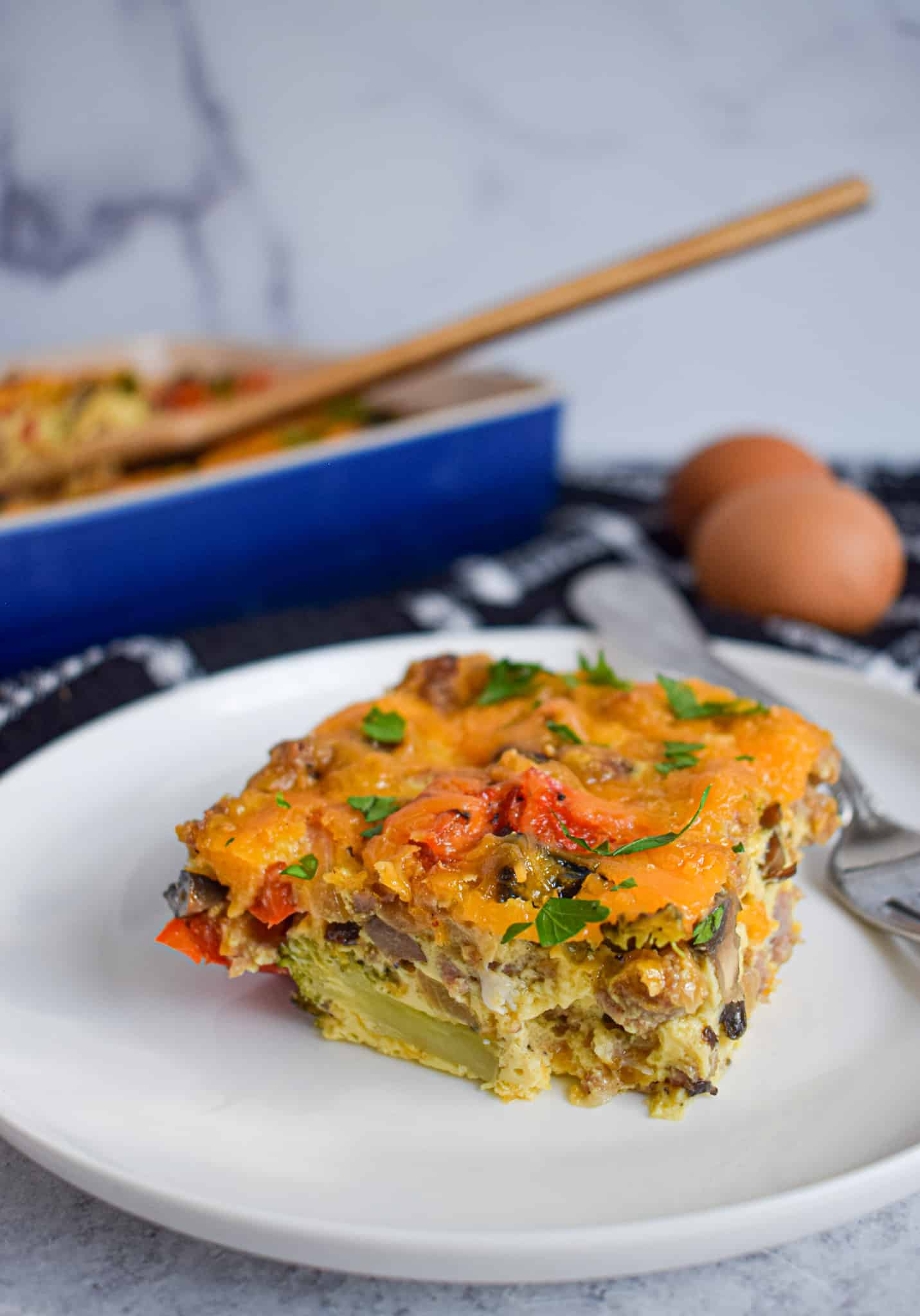 low carb keto breakfast casserole with eggs sausage cheese roasted vegetables easy make ahead