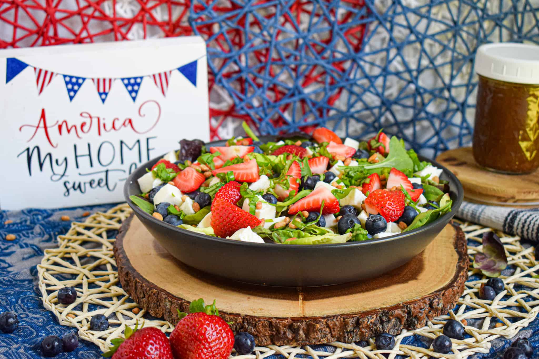 4th of july salad berry caprese with balsamic vinaigrette