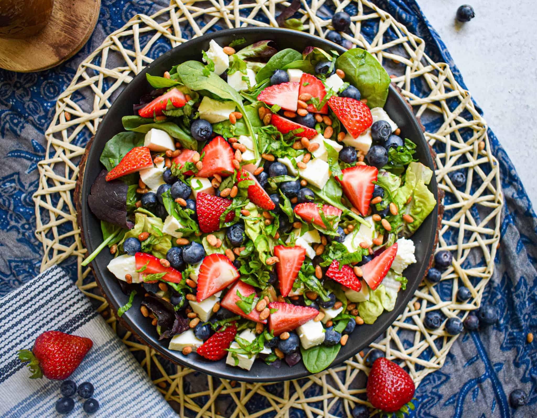 red white and blue patriotic salad recipe with mozzarella