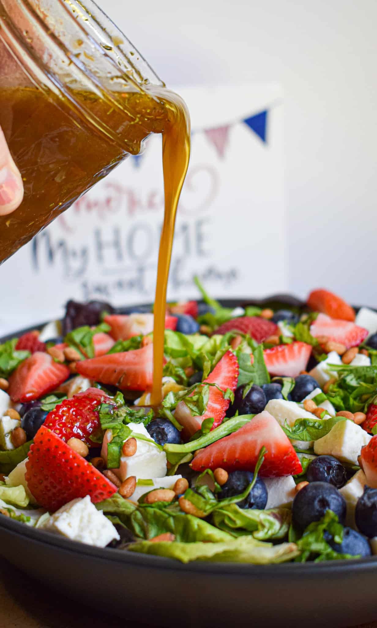 4th of july salad with maple balsamic vinaigrette