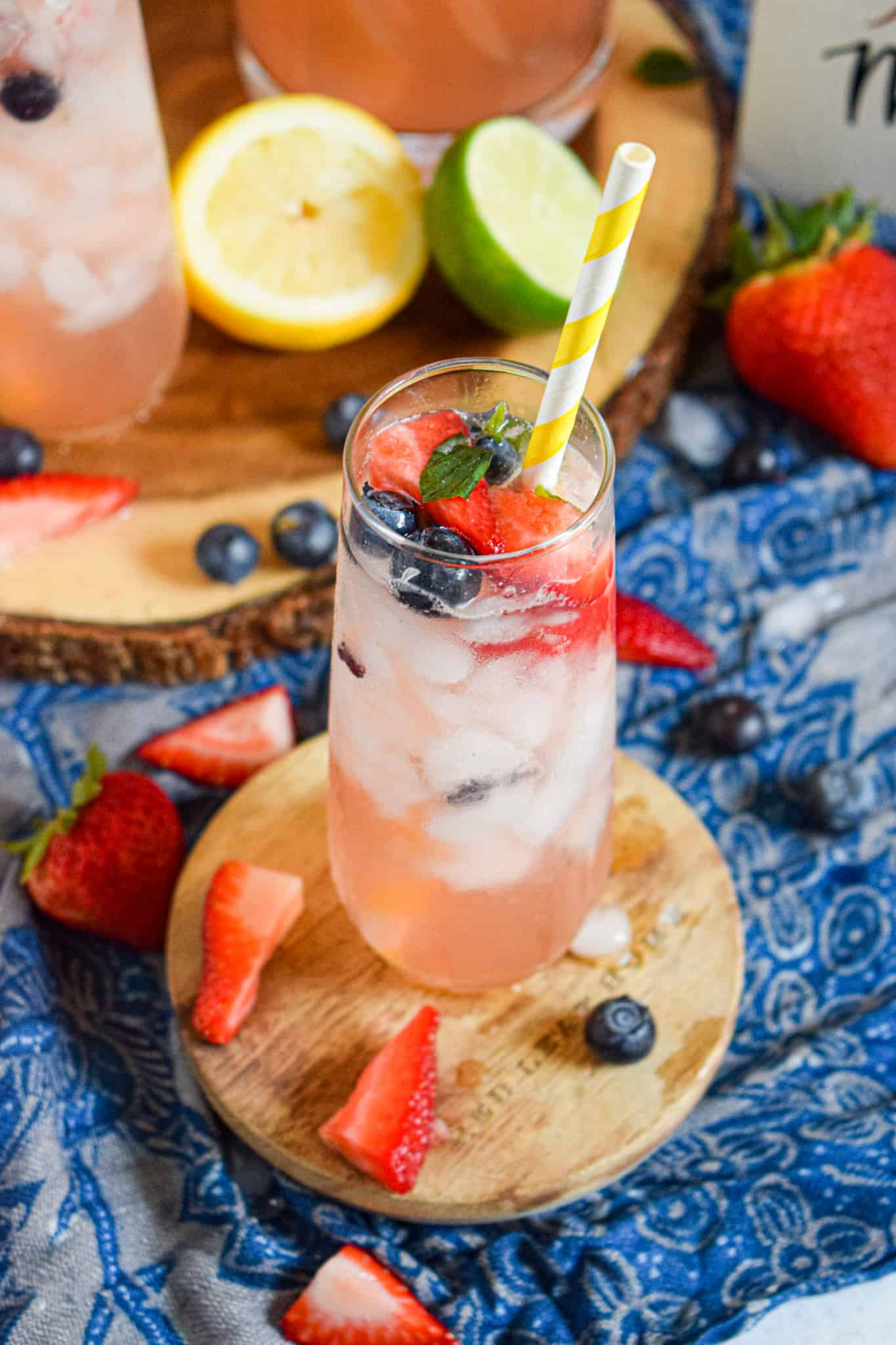 4th of july drink recipe with strawberries and blueberries