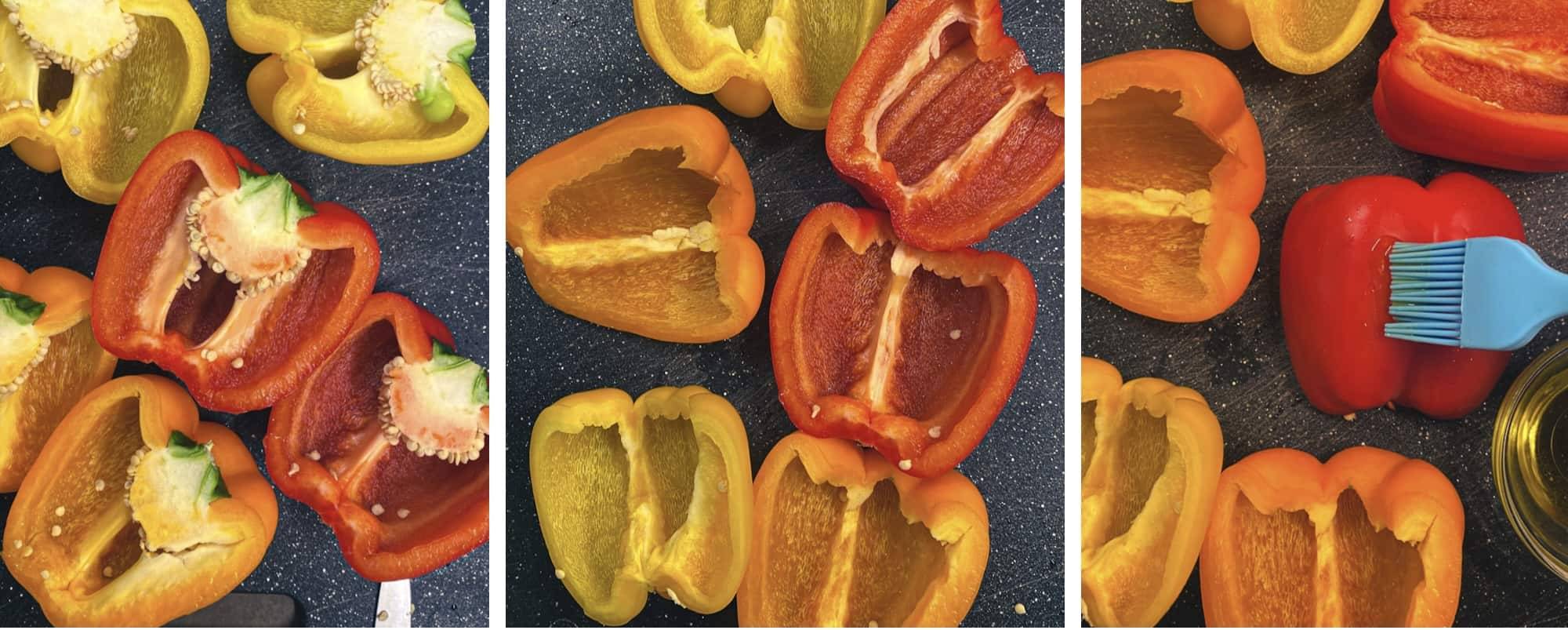 prepping grilled bell peppers