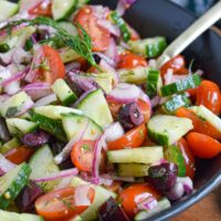 greek cucumber salad with tomatoes dill and olives