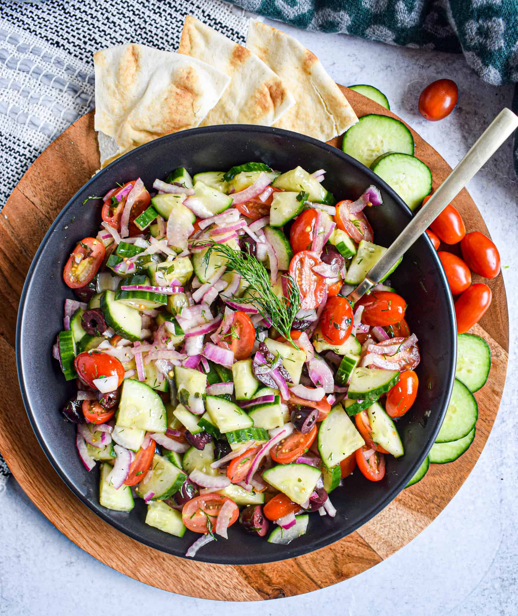 greek cucumber tomato salad with red onion and kalamata olives perfect summer side dish