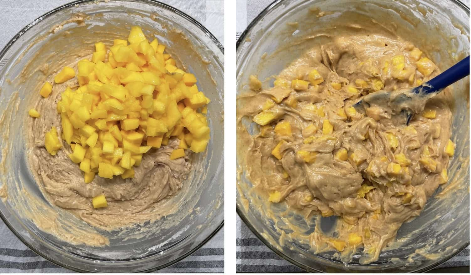 fold mangoes into the batter