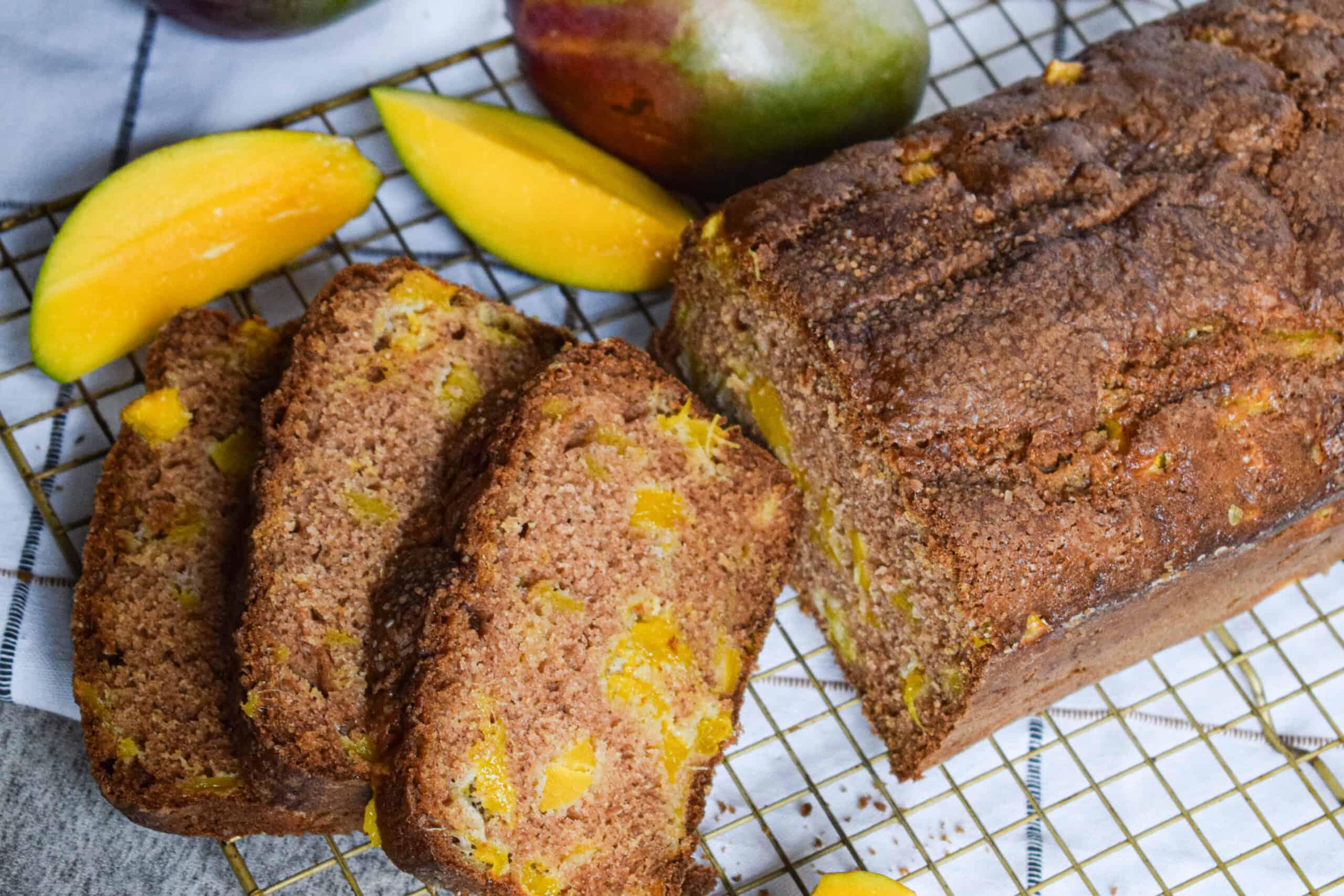 quick bread with fresh mango yogurt and cinnamon
