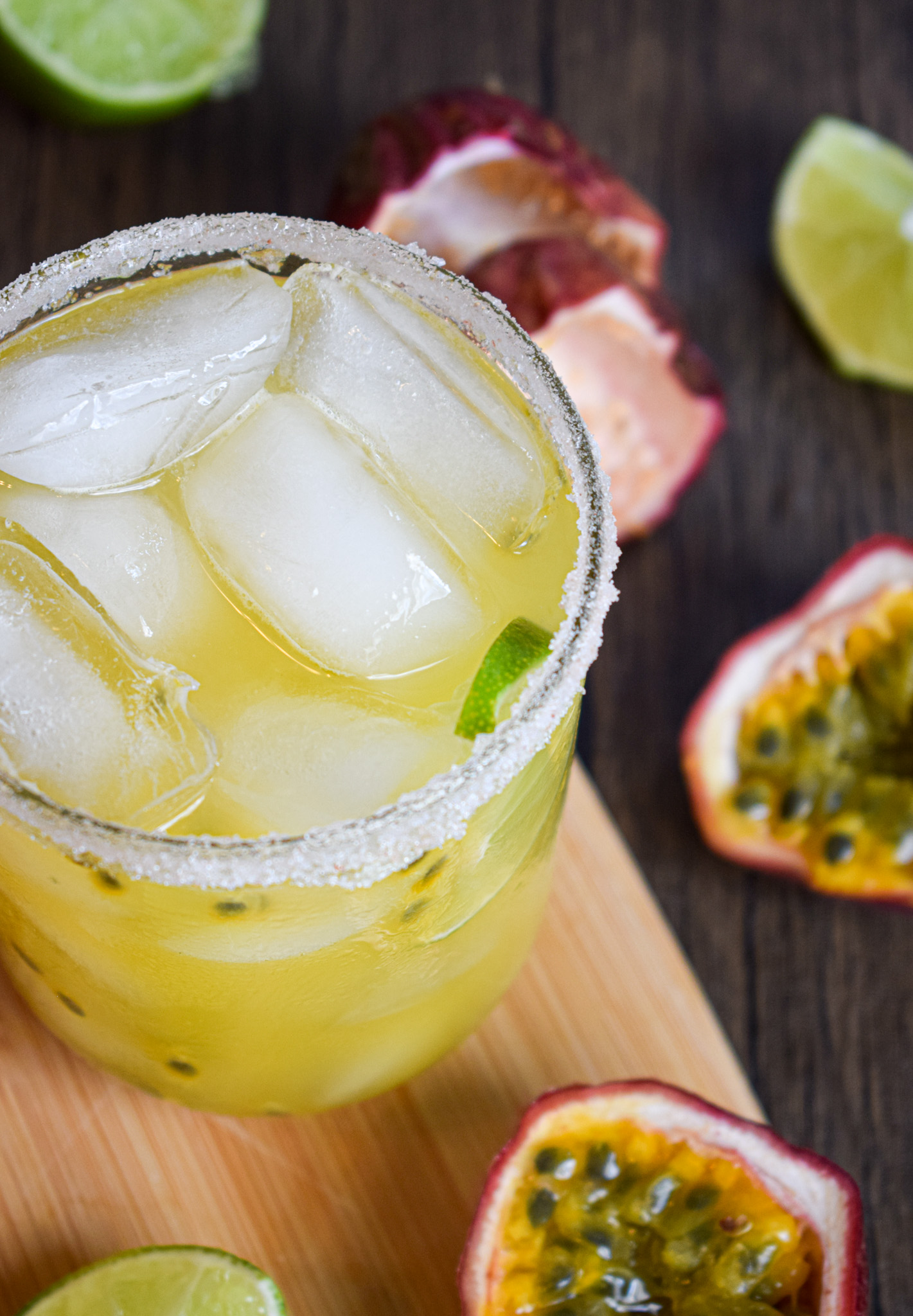 passionfruit margarita with tequila blanco and lime and triple sec