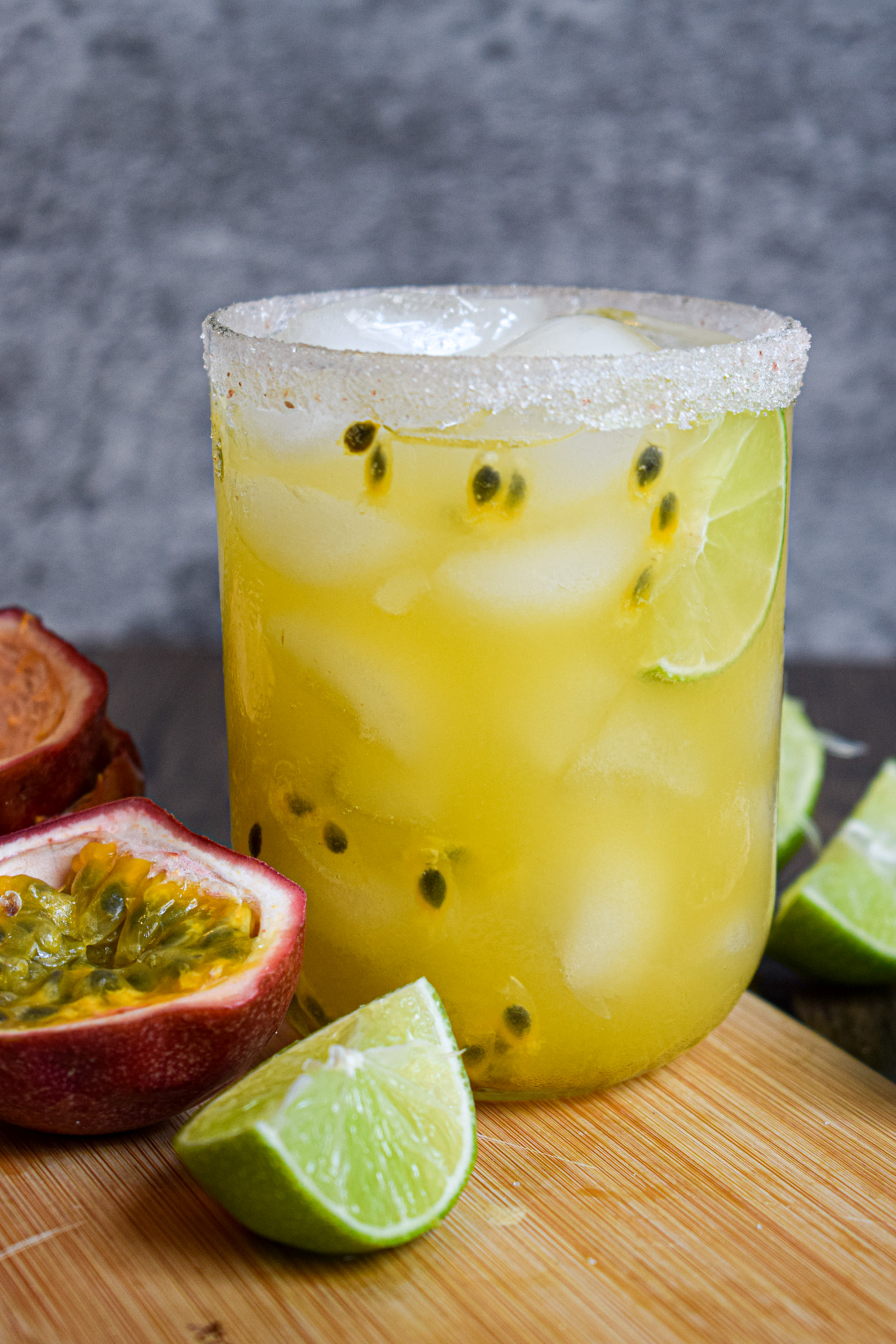 passionfruit margarita cocktail with tequila
