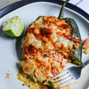 chicken stuffed poblano peppers with hot sauce
