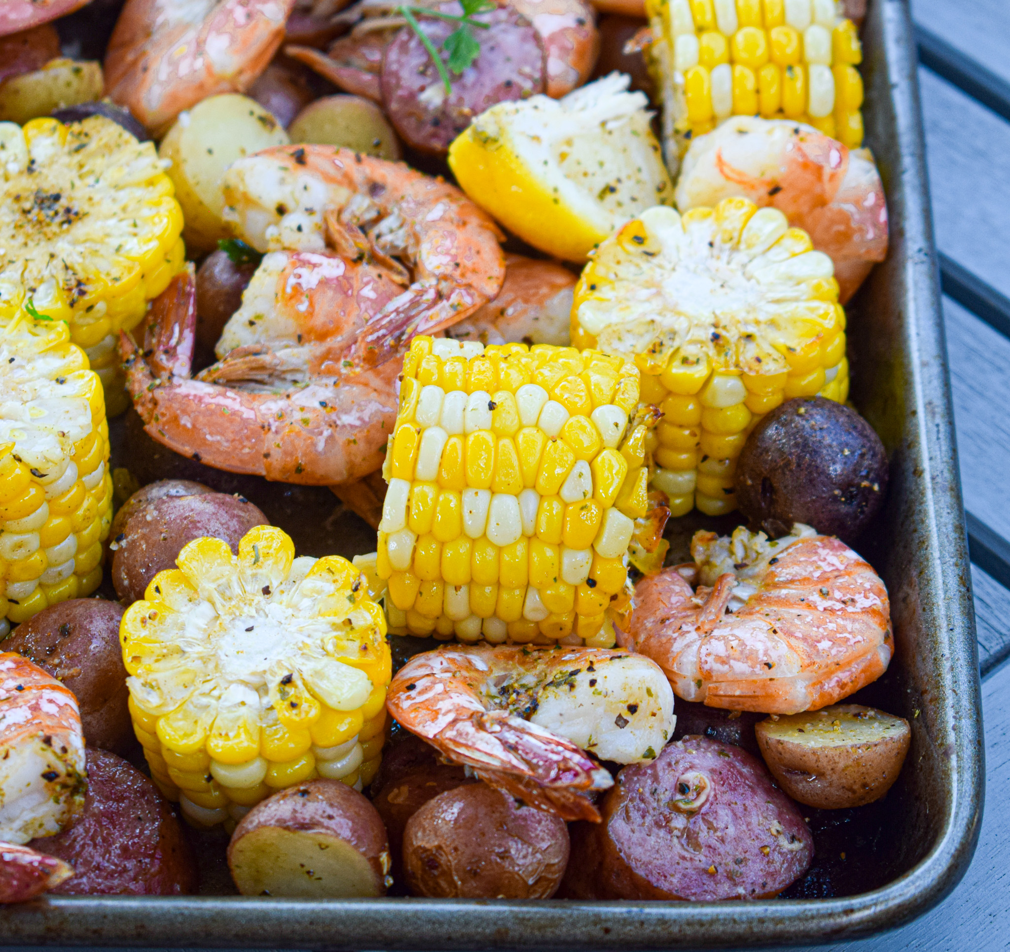 sheet pan shrimp boil with corn and andouille low country