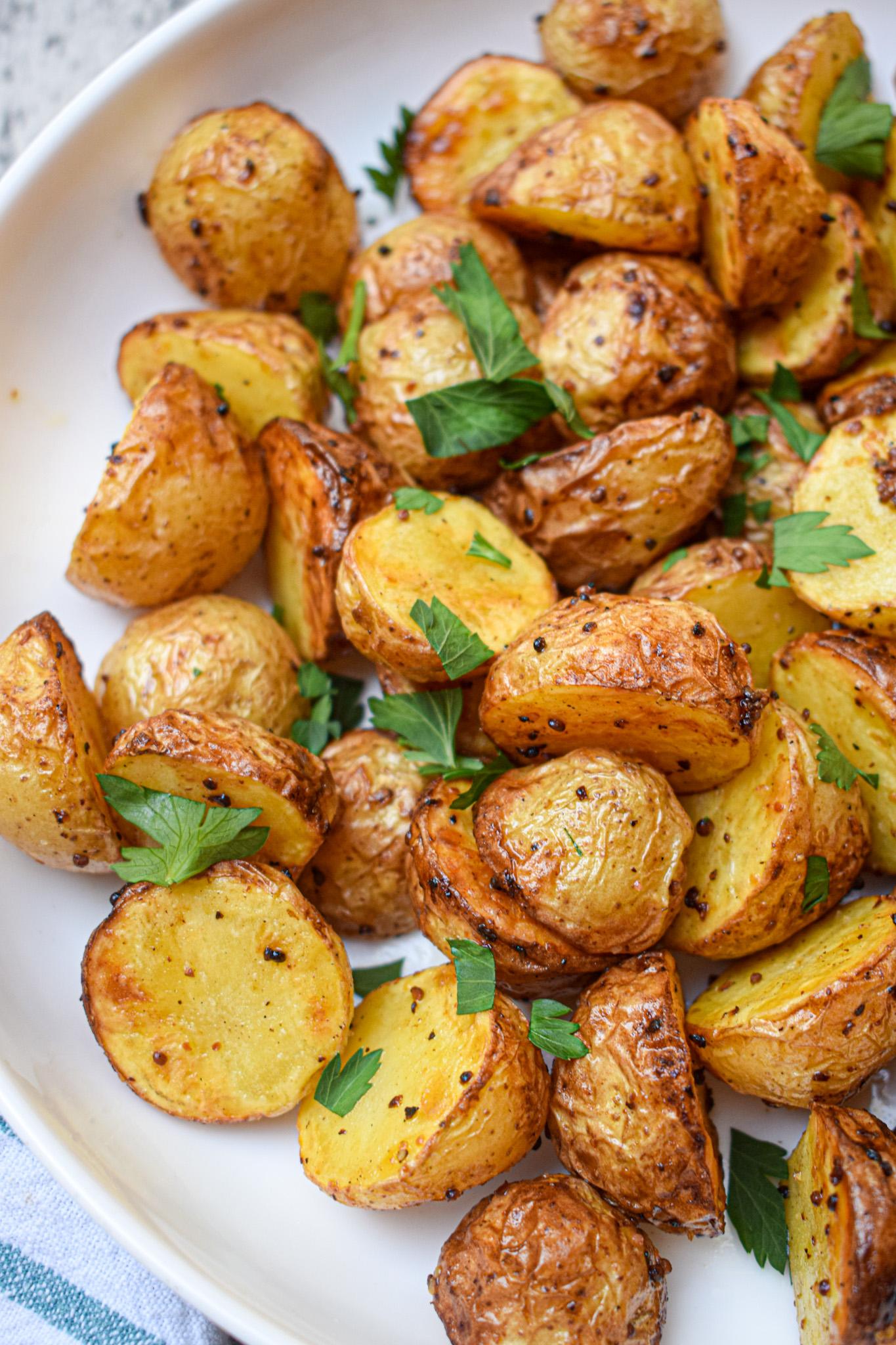 air fryer mustard roast potatoes recipe